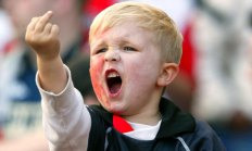 Kid swearing - calm down son!